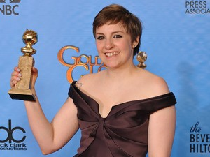Lena Dunham with the Best Actress in a TV Comedy award in the press room at the 70th Annual Golden Globe Awards Ceremony, held at the Beverly Hilton Hotel in Los Angeles, CA on January 13, 2013. Photo By Lionel Hahn / ABACAUSA