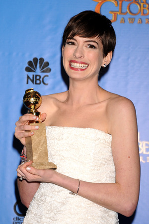 Anne Hathaway in the press room at the 70th Annual Golden Globe Awards held at the Beverly Hilton Hotel, Beverly Hills, California on January 13, 2013.