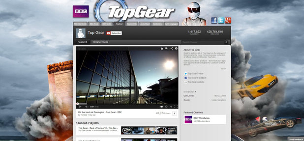 BBC Top Gear YouTube channel screenshot