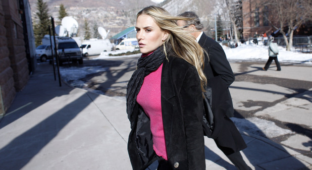 Brooke Mueller Sheen, wife of actor Charlie Sheen, departs from the Pitkin County Courthouse in Aspen