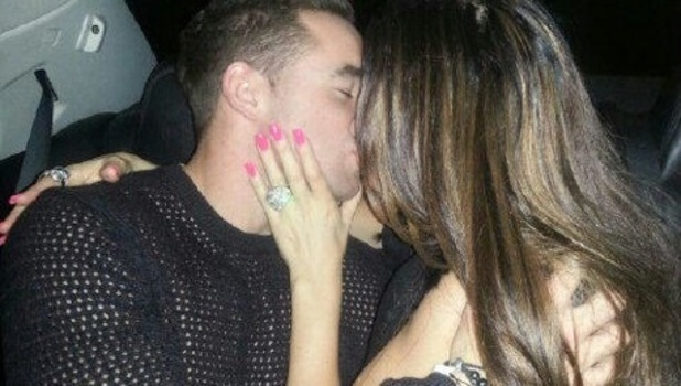 Katie Price flashes suspected engagement ring while kissing fiance Kieran Hayler