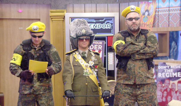 Day 13: Rylan (Bodygaurd), Frankie (Dictator) and Razor (Bodyguard) during 'The Regime' task
