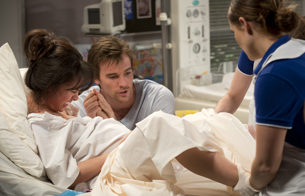 Rhys is by Vanessa's side as she goes into labour.