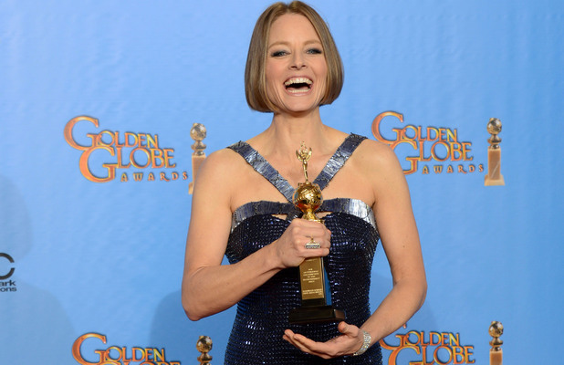 Jodie Foster poses with the Cecile B. DeMille Award for outstanding contribution to the entertainment field in the press room at the 70th Annual Golden Globe Awards