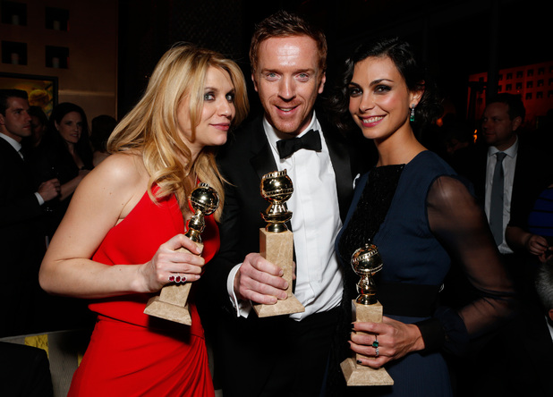 &#39;Homeland&#39;s Claire Danes, Damian Lewis and Morena Baccarin at the FOX Golden Globes aftershow party