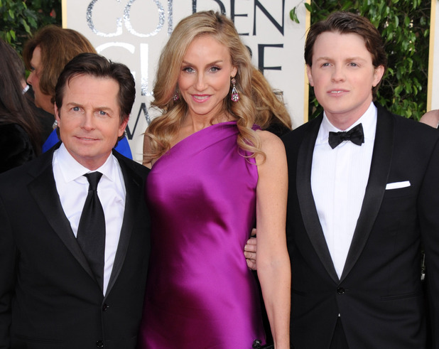 Michael J Fox, Tracy Pollan and Sam Fox at the 2013 Golden Globes