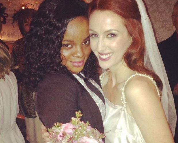 Sugababes singer Keisha Buchanan poses with bandmate Siobhan Donaghy on her wedding day.
