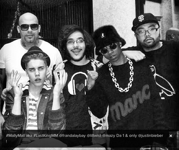 Justin Bieber with various music industry people.