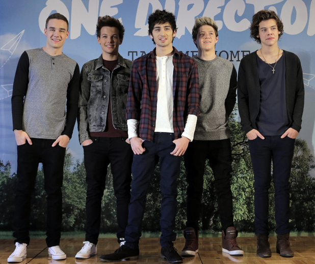 "One Direction promote their second album ""TAKE ME HOME"" in Tokyo."