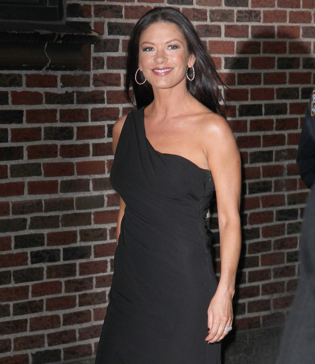 Catherine Zeta Jones at the Ed Sullivan Theater for 'The Late Show with David Letterman'