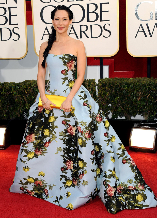 Lucy Liu wears Carolina Herrera at the 2013 Golden Globes