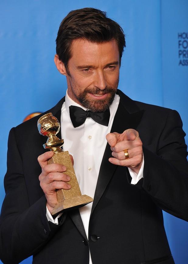 Hugh Jackman with the Golden Globe for best actor in a musical or comedy in the press room at the 70th Annual Golden Globe Awards Ceremony, held at the Beverly Hilton Hotel in Los Angeles, CA on January 13, 2013.
