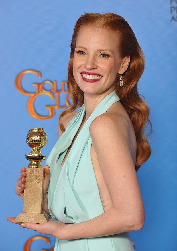 Jessica Chastain with the best actress in a drama award poses in the press room at the 70th Annual Golden Globe Awards Ceremony, held at the Beverly Hilton Hotel in Los Angeles, CA on January 13, 2013. Photo By Lionel Hahn / ABACAUSA