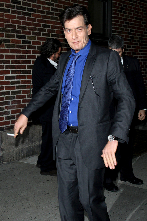 Celebrities at the Ed Sullivan Theater for 'The Late Show with David Letterman' Featuring: Charlie Sheen Where: New York City, New York, United States