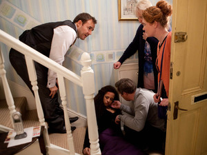 Corrie, Kirsty falls down the stairs, Wed 23 Jan