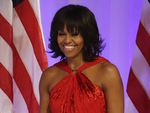 Michelle Obama&#39;s Jason Wu evening gown for the inaugural ball in ruby red velvet and chiffon