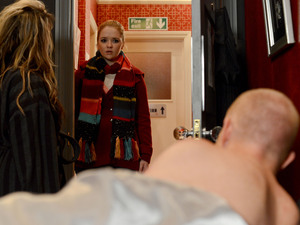 Abi is shocked to find Max in Kirsty's bed.