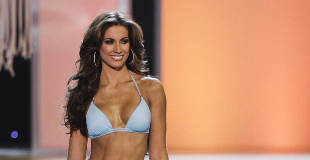Miss Alabama, Katherine Webb, competing in the swimsuit competition during the 2012 Miss USA pageant in Las Vegas.