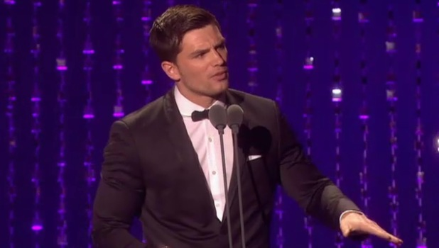 David Witts reacts to his girlfriend getting booed at the National Television Awards.