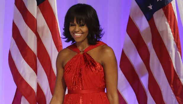 Michelle Obama's Jason Wu evening gown for the inaugural ball in ruby red velvet and chiffon