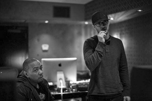 Justin Timberlake and Timbaland in the recording studio.