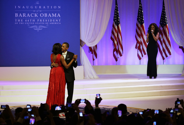 President Barack Obama and First Lady Michelle Obama at the Commander in Chief's Inauguration Ball as Jennifer Hudson sings 'Let's Stay Together'