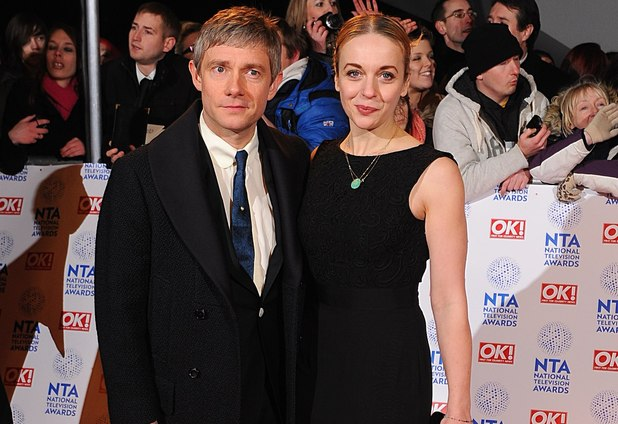 Martin Freeman with his wife Amanda Abbington arriving for the 2013 National Television Awards at the O2 Arena, London.