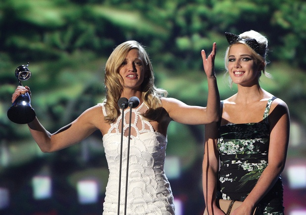Ashley Roberts and Helen Flanagan accept the award for Best Entertainment Programme for &quot;Im a celebrity get me out of here&quot; during the 2013 National Television Awards at the O2 Arena, London.