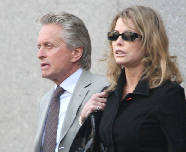 Michael Douglas and ex-wife Diandra Luker attend court for son Cameron Douglas's sentencing on drug possession offences - April 2010
