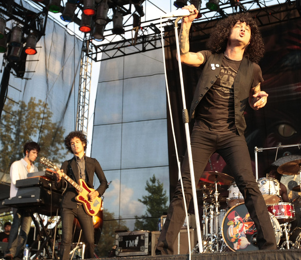 The Mars Volta performs during the Bonnaroo Arts and Music Festival in Manchester, Tenn., Saturday, June 13, 2009.  At left is guitarist Omar Rodriguez-Lopez. At right is singer Cedric Bixler-Zavala