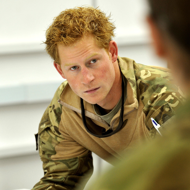 Prince Harry or just plain Captain Wales as he is known in the British Army, at a mission briefing in the British controlled flight-line in Camp Bastion southern Afghanistan, where he is serving as an Apache Helicopter Pilot/Gunner with 662 Sqd Army Air Corps, from September 2012 for four months until January 2013.