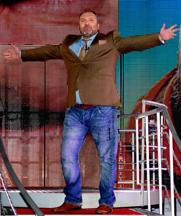 Neil Ruddock leaves Celebrity Big Brother, filmed at the Elstree Studios in London.