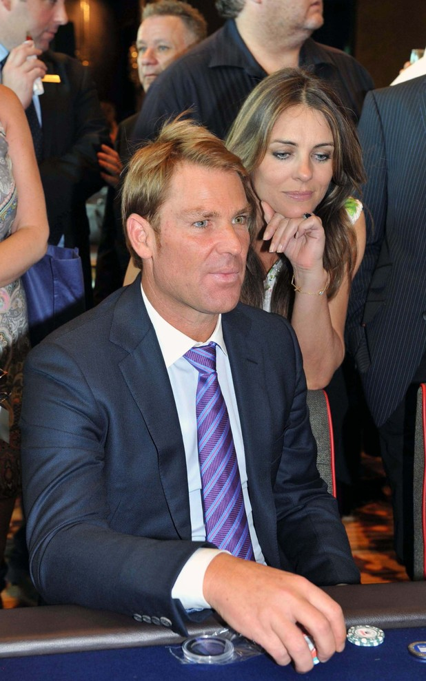 Shane Warne and Liz Hurley attend a charity poker tournament in aid of The Shane Warne Foundation at the Crown HotelFeaturing: Shane Warne,Liz HurleyWhere: Melbourne, Australia
