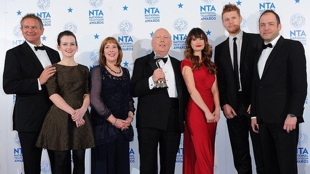 Digital Spy caught up with Downton Abbey creator Julian Fellowes and star Hugh Bonneville backstage at the National Television Awards.The duo, who picked up the 'Best Drama' gong for the ITV series, spoke about the exit of Dan Stevens.