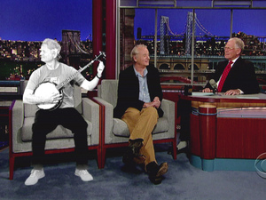 Bill Murray appears on the David Letterman show with a hologram of himself