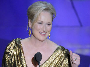 "Meryl Streep accepts the Oscar for best actress in a leading role for ""The Iron Lady"" during the 84th Academy Awards on Sunday, Feb. 26, 2012, in the Hollywood section of Los Angeles."