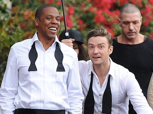 Justin Timberlake and Jay-Z seen fooling around on the set of their new music video &#39;Suit and Tie&#39;