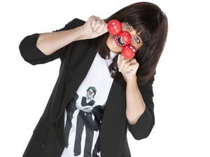 Comic Relief: Claudia Winkleman wearing a Red Nose Day T-shirt
