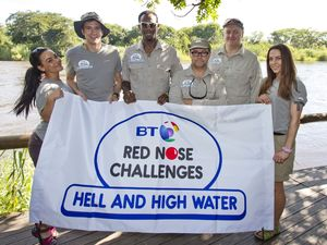 The BT Red Nose Challenge: Hell and High Water, Zambia, Africa: Dara O'Briain, Melanie Chisholm, Jack Dee, Chelsee Healey, Phillips Idowu and Greg James