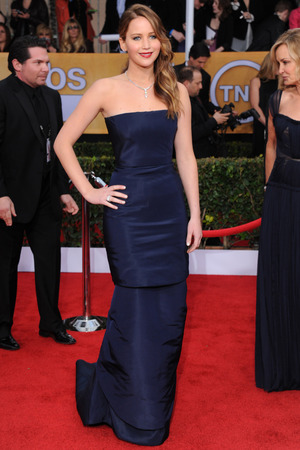 Jennifer Lawrence, arrives at the 19th Annual Screen Actors Guild Awards in LA.