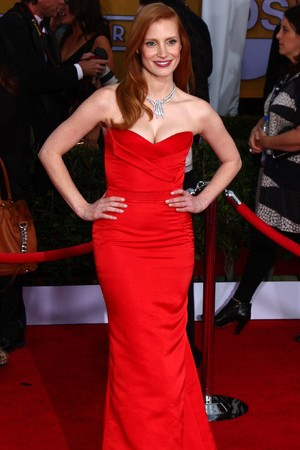 19th Annual Screen Actors Guild (SAG) Awards held at the Shrine Auditorium - Arrivals Featuring: Jessica Chastain Where: Los Angeles, California, United States When: 27 Jan 2013