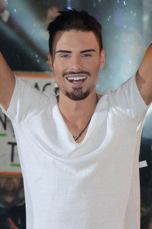 Rylan Clark celebrating his Celebrity Big Brother win