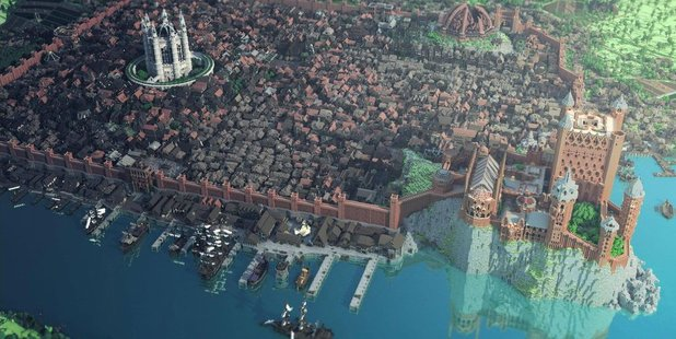 A screenshot of Game of Thrones' King's landing recreated in Minecraft