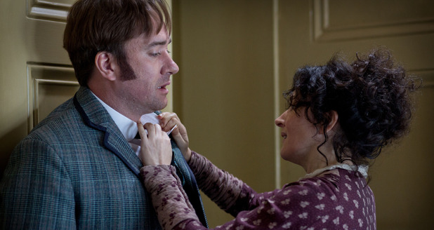 Ripper Street S01E06: &#39;Tournament of Shadows&#39; - Edmund Reid (MATTHEW MACFADYEN), Deborah Goran (LUCY COHU)