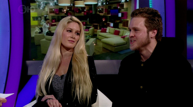 Celebrity Big Brother Live Final. Shown on Channel 5 HD Heidi Montag and Spencer Pratt talk about there time in the Big Brother House.Featuring: Spencer Pratt,Heidi Montag,Heidi Pratt When: 25 Jan 2013 Credit: Supplied by WENN**WENN does not claim any ownership including but not limited to Copyright or License in the attached material. Any downloading fees charged by WENN are for WENN's services only, and do not, nor are they intended to, convey to the user any ownership of Copyright or License in the material. By publishing this material you expressly agree to indemnify and to hold WENN and its directors, shareholders and employees harmless from any loss, claims, damages, demands, expenses (including legal fees), or any causes of action or  allegation against WENN arising out of or connected in any way with publication of the material.offline**