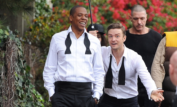 Justin Timberlake and Jay-Z seen fooling around on the set of their new music video 'Suit and Tie'