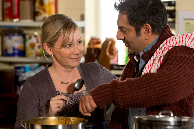 Masood helps a struggling Carol when the cooking at the Cafe goes awry.