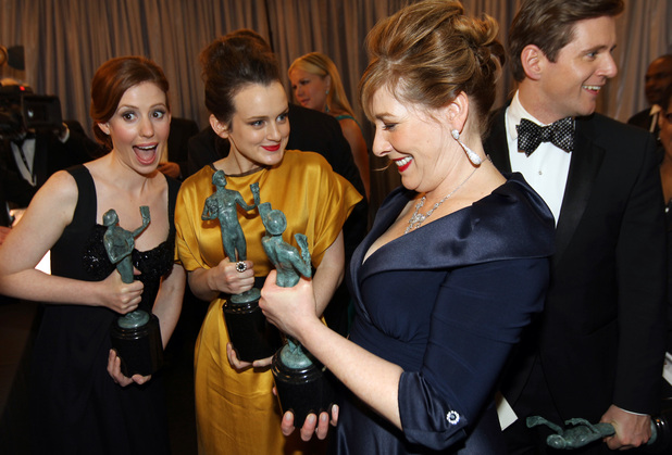 Downton Abbey's Amy Nuttall, Sophie McShera, Phyllis Logan and Allen Leech backstage at the SAG Awards 2013