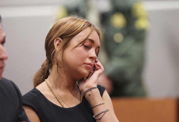 Lindsay Lohan inside a Los Angeles court during her car crash case pretrial hearing