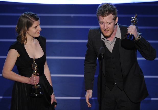 "Glen Hansard and Marketa Irglova accept the Oscar for best original song for ""Falling Slowly"" from the motion picture ""Once"" at the 80th Academy Awards Sunday, Feb. 24, 2008, in Los Angeles."